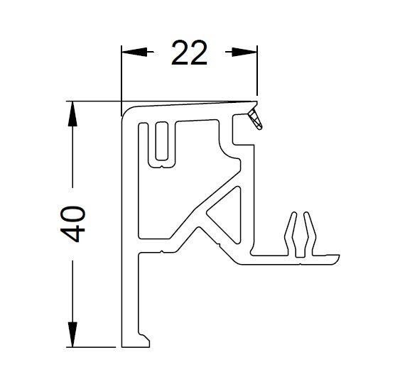 KS-Zargenprofil 22/40   VE = 6m