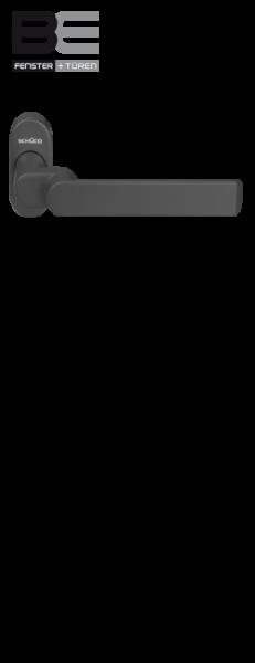 Haustürdrücker 240157 gekröpft Tiefschwarz RAL 9005
