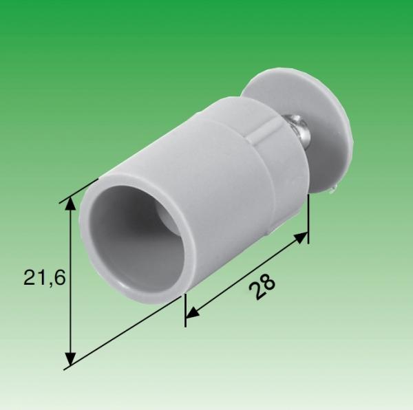 Selve Anschlagstopfen, Länge: 28 mm, mit eingelegter Mutter u. Schraube (4mm)