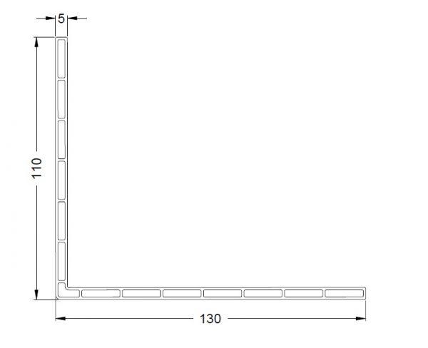 KS-Hohlkammer-Winkel 130/110/5   VE = 2,65m
