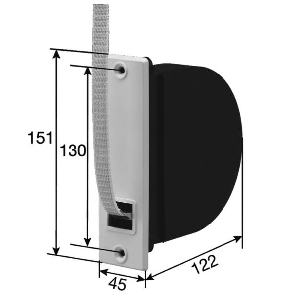 Mini-Einlass-Gurtwickler 130 mit Mauerkasten, für 15 mm Gurt